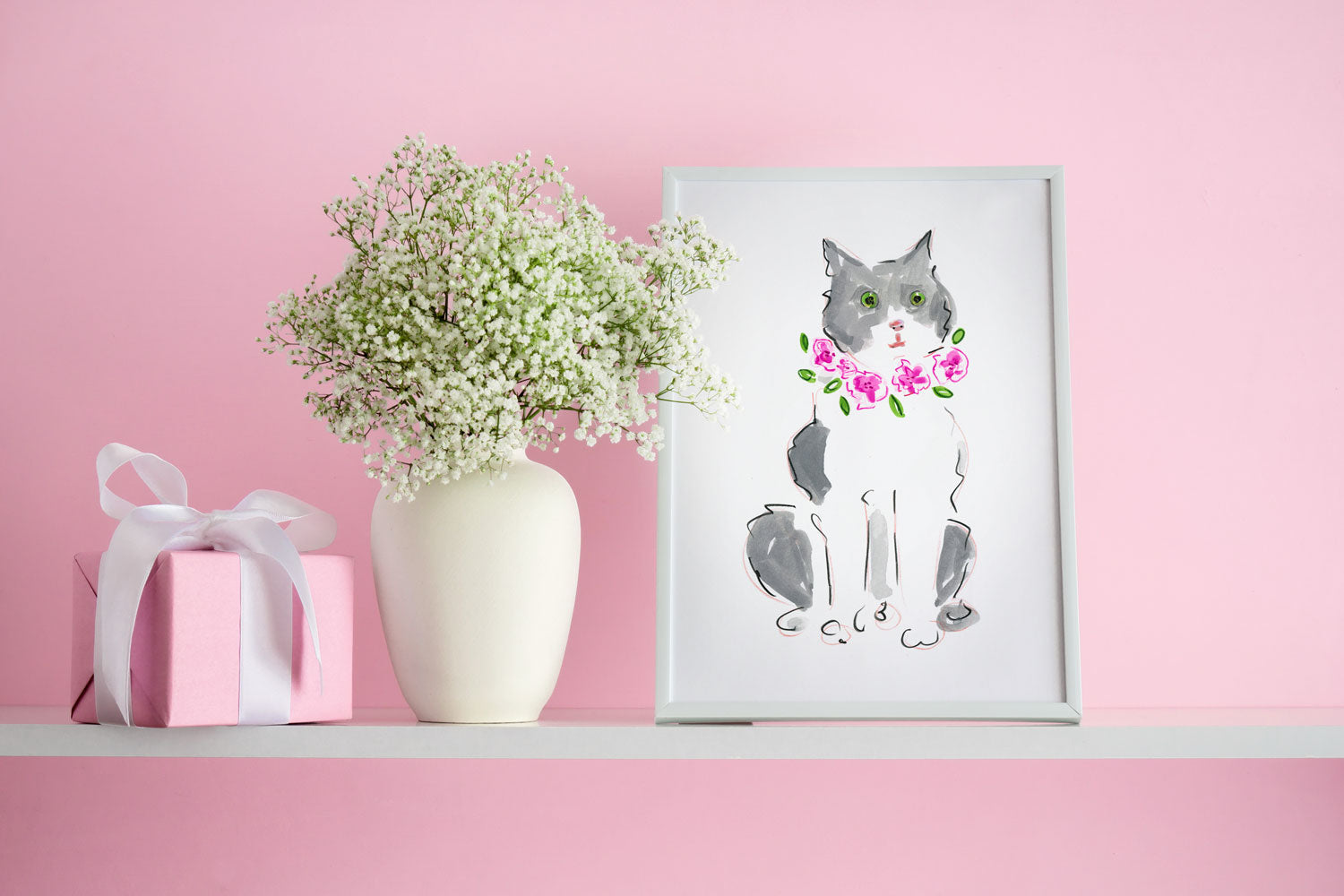 Grey and White Cat Art Print - Cat Illustrations Wall Art Collection-Di Lewis