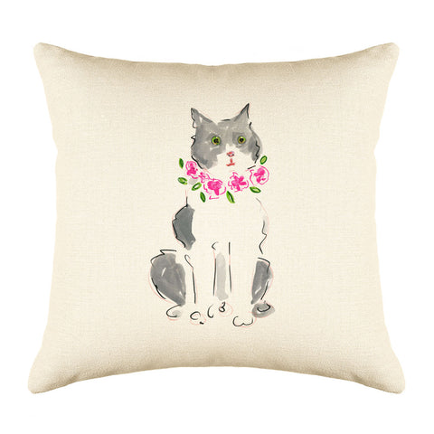 Sasha Throw Pillow Cover - Cat Illustration Throw Pillow Cover Collection