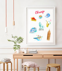 Chicago Art Print - Travel Print Wall Art Collection-Di Lewis