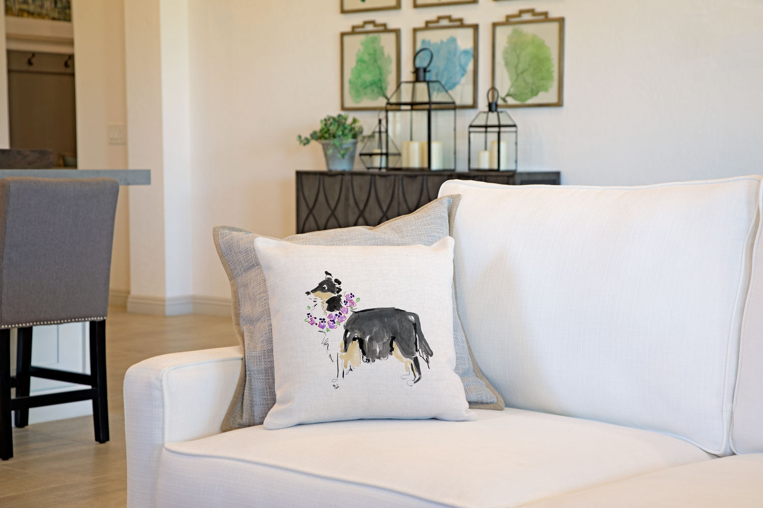 Cleo Collie Throw Pillow Cover