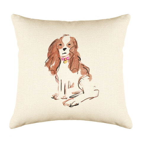 Sparky Spaniel Throw Pillow Cover - Dog Illustration Throw Pillow Cover Collection