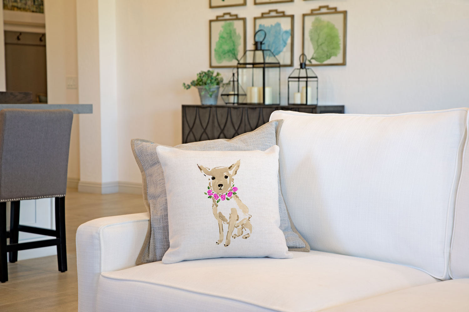 Coco Chihuahua Throw Pillow Cover - Dog Illustration Throw Pillow Cover Collection