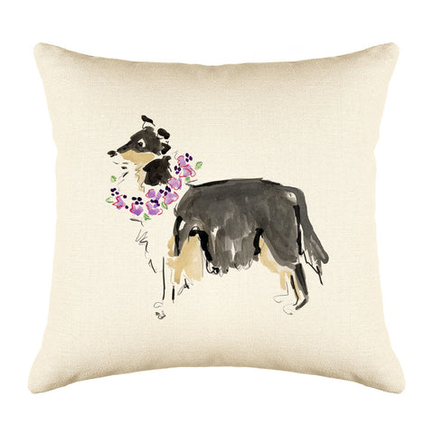 Cleo Collie Throw Pillow Cover - Dog Illustration Throw Pillow Cover Collection