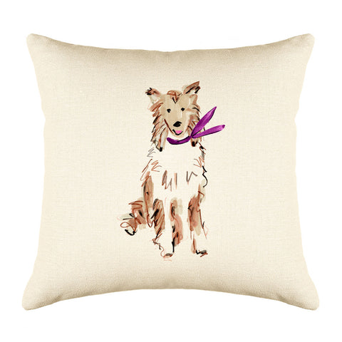 Conrad Collie Throw Pillow Cover - Dog Illustration Throw Pillow Cover Collection