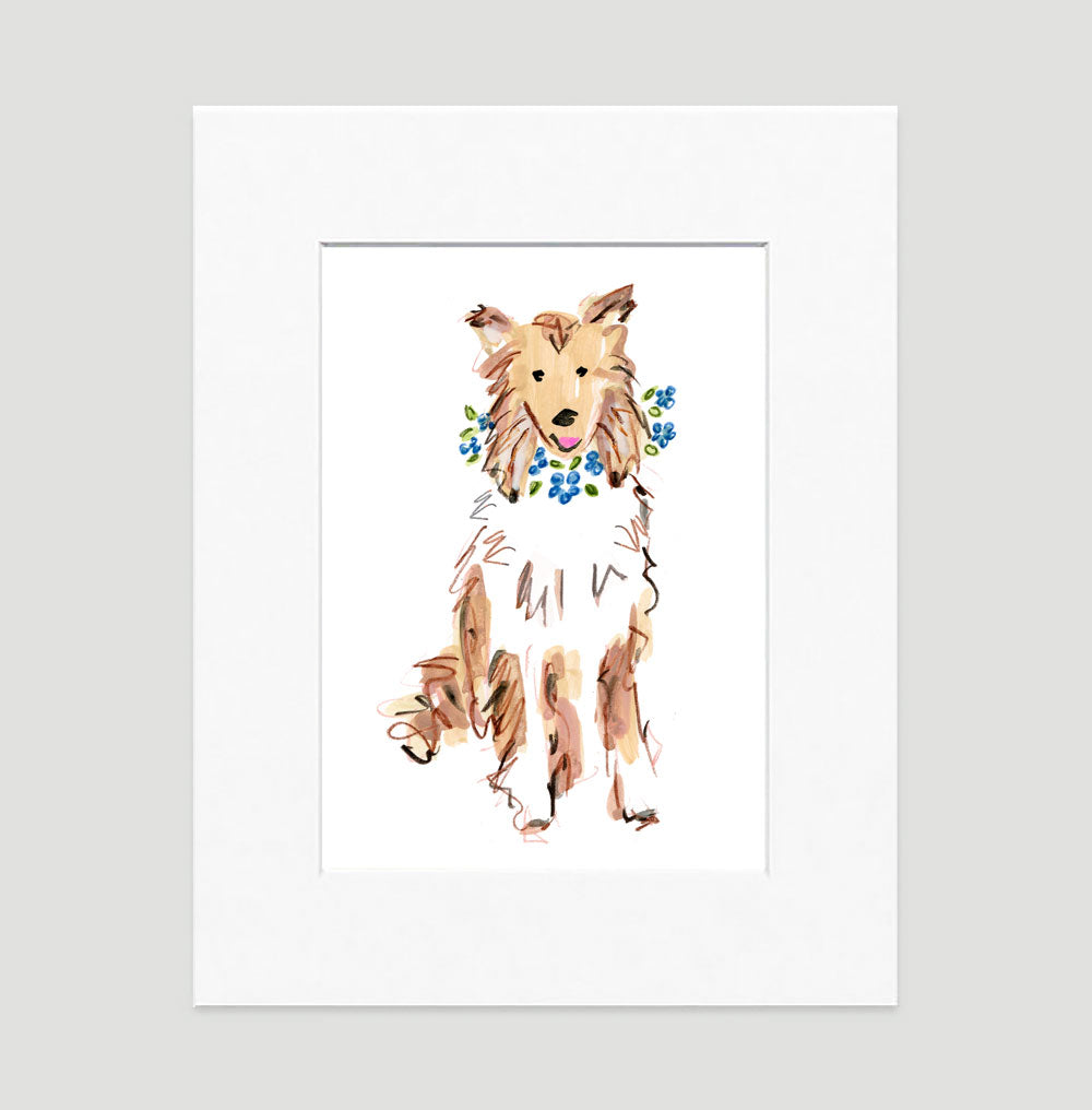 Cassie Collie Art Print - Dog Illustrations Wall Art Collection-Di Lewis