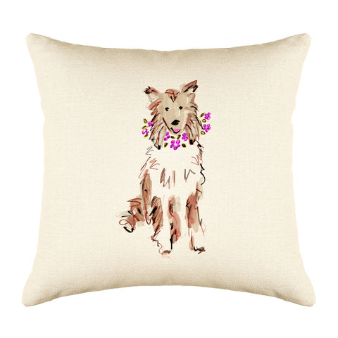 Coco Collie Throw Pillow Cover - Dog Illustration Throw Pillow Cover Collection
