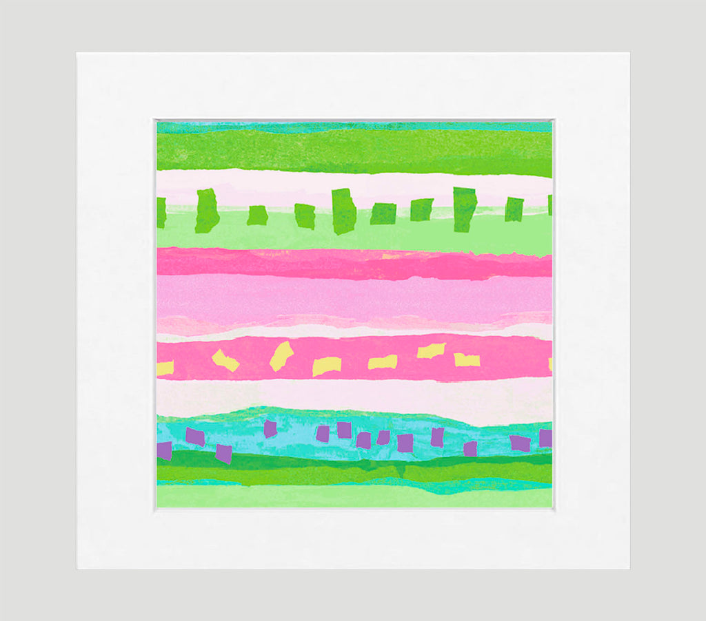Confetti Pink Green Abstract Art Print Di Lewis Living Room Wall Decor