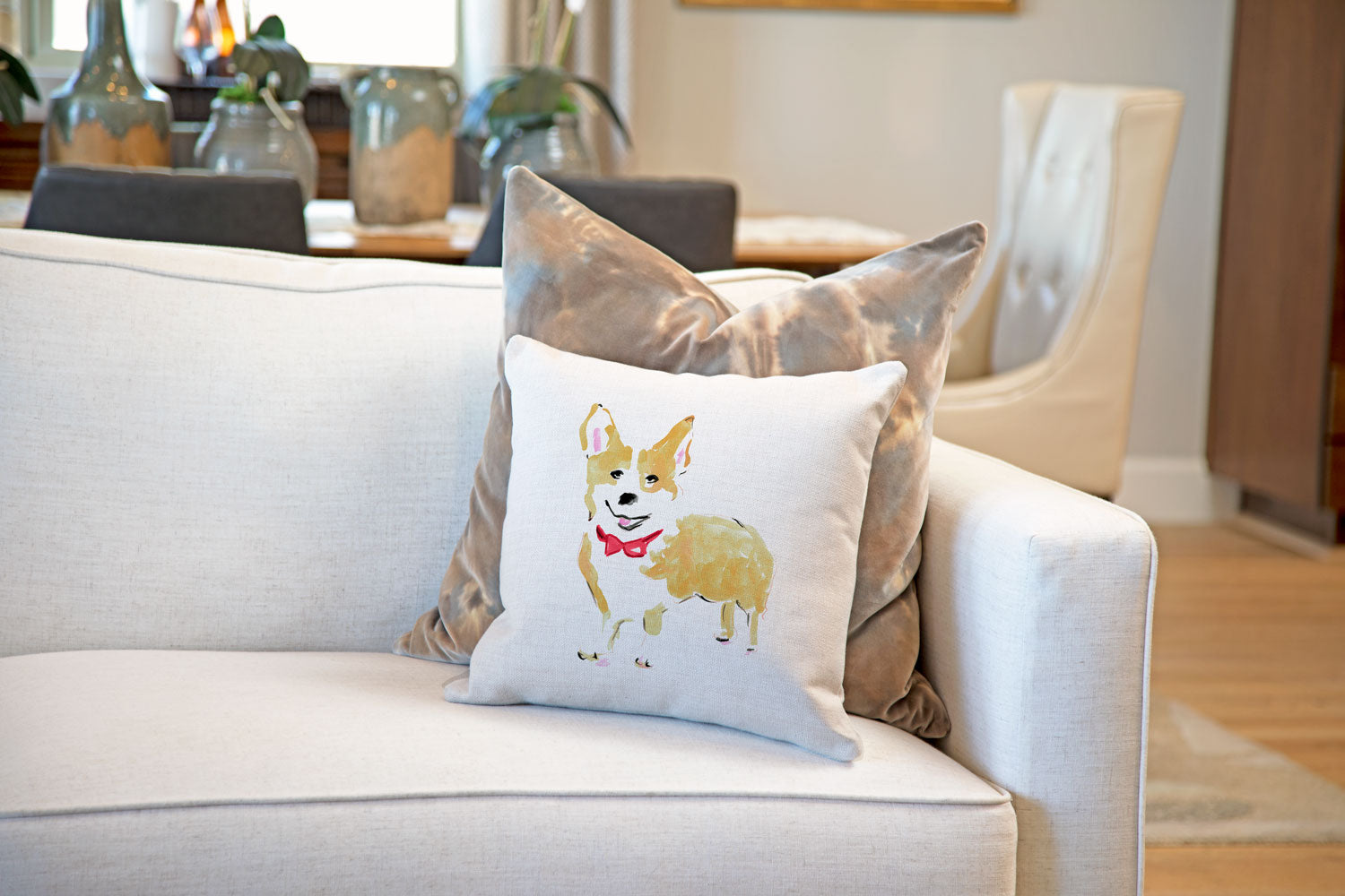 Conor Corgie Throw Pillow Cover - Dog Illustration Throw Pillow Cover Collection