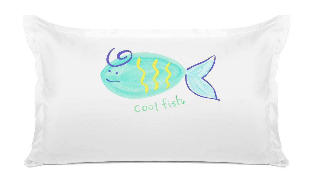 Cool Fish Personalized Kids Pillow case Di Lewis Kids Bedroom Decor