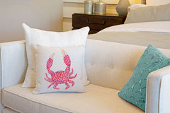 Coral Crab Throw Pillow Cover - Coastal Designs Throw Pillow Cover Collection-Di Lewis