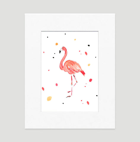 Fergie Flamingo Art Print - Animal Illustrations Wall Art Collection-Matted-Di Lewis