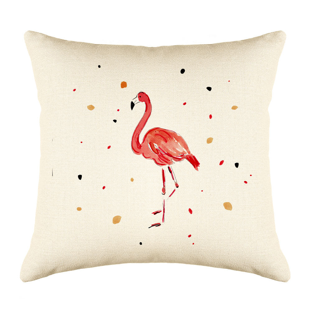 Fergie Flamingo Throw Pillow Cover - Animal Illustrations Throw Pillow Cover Collection-Di Lewis