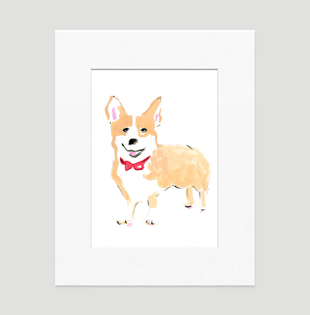 Conor Corgie Art Print - Dog Illustrations Wall Art Collection-Di Lewis