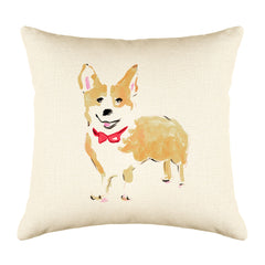 Conor Corgi Throw Pillow Cover - Dog Illustration Throw Pillow Cover Collection-Di Lewis