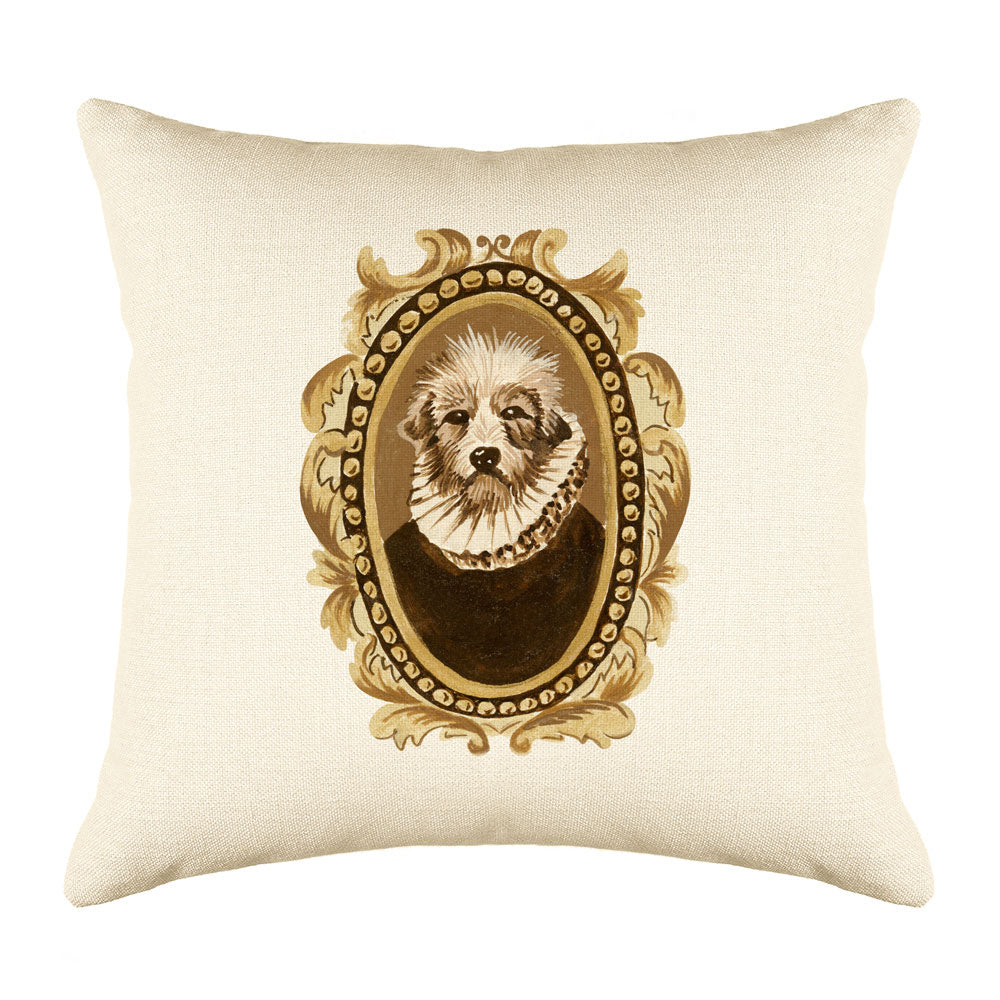 Count Terrier Throw Pillow Cover - Dog Illustration Throw Pillow Cover Collection