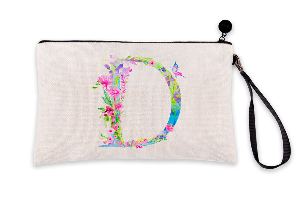 Floral Watercolor Monogram Letter D Makeup Bag