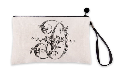 Vintage French Monogram Letter D Makeup Bag