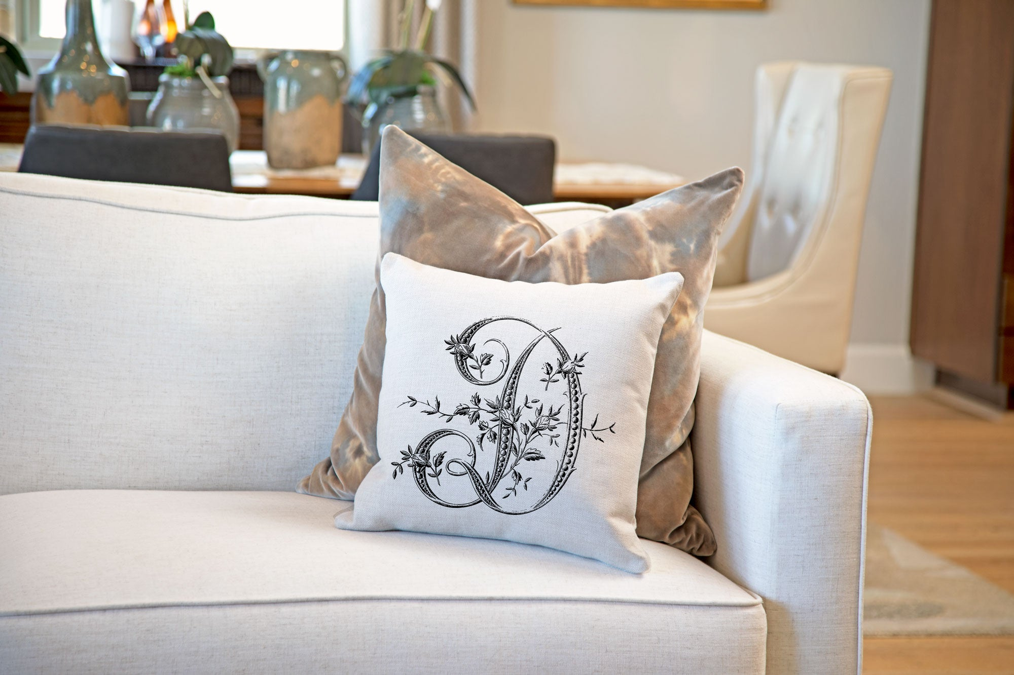 Vintage French Monogram Letter D Throw Pillow Cover