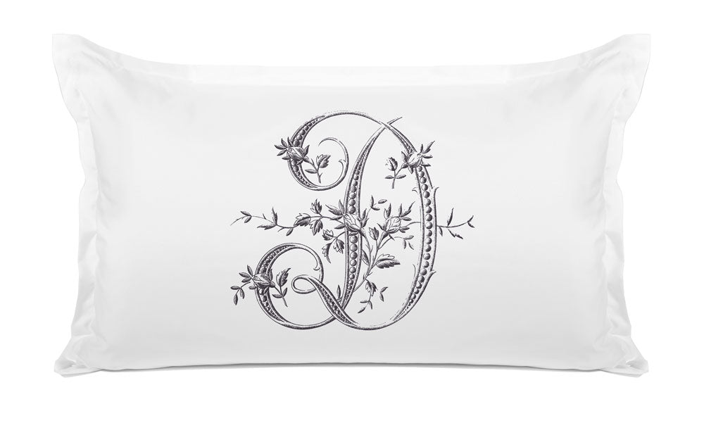 Vintage French Monogram Letter D Pillowcase