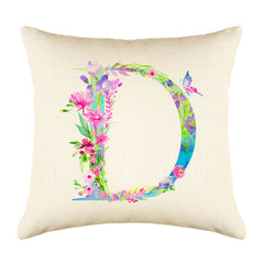 Floral Watercolor Monogram Letter D Throw Pillow Cover