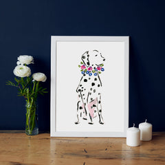 Dixie Dalmatian Art Print - Dog Illustrations Wall Art Collection-Di Lewis