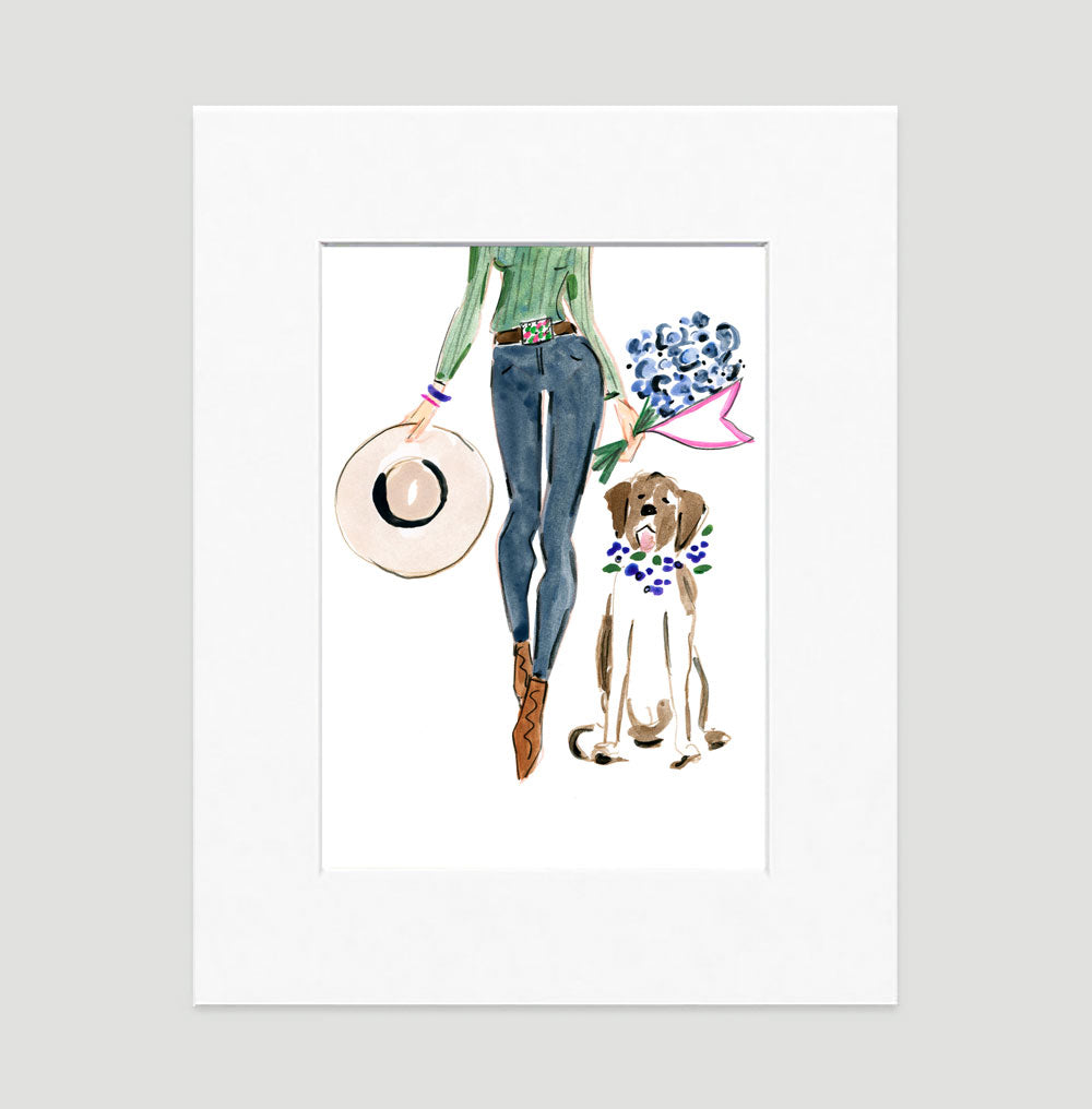 Denim Chic Art Print - Fashion Illustration Wall Art Collection-Matted-Di Lewis