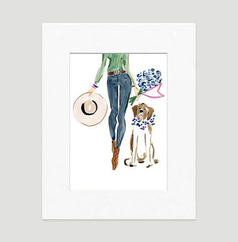 Denim Chic Art Print - Fashion Illustration Wall Art Collection-Di Lewis