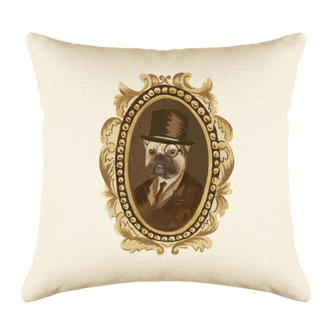 Detective Pug Throw Pillow Cover - Dog Illustration Throw Pillow Cover Collection-Di Lewis