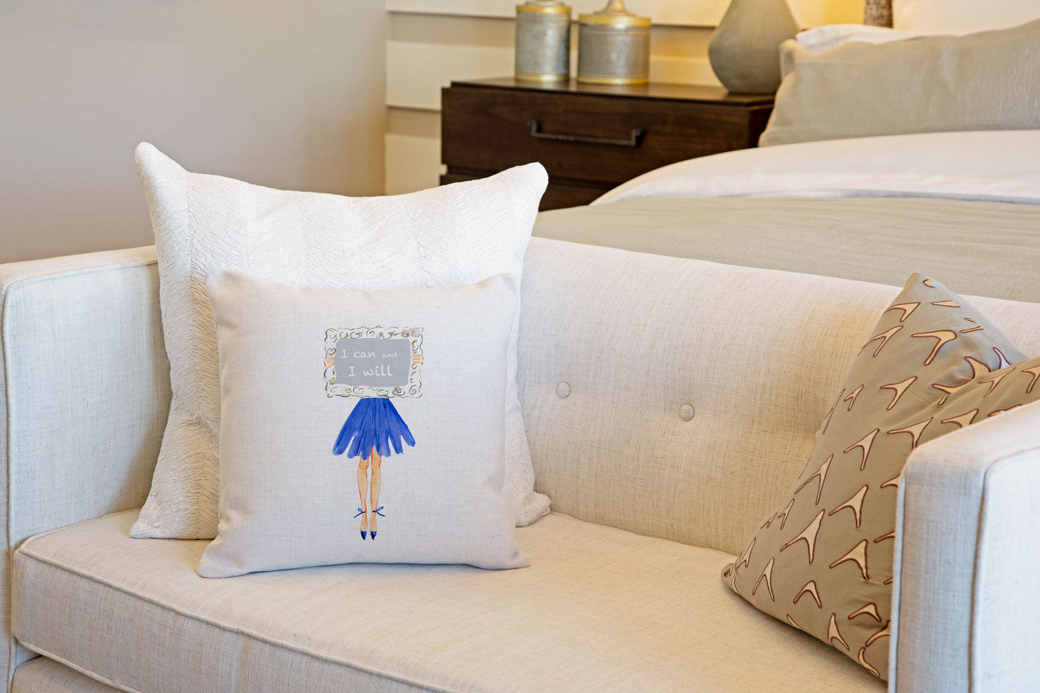 Determination Throw Pillow Cover - Fashion Illustrations Throw Pillow Cover Collection-Di Lewis