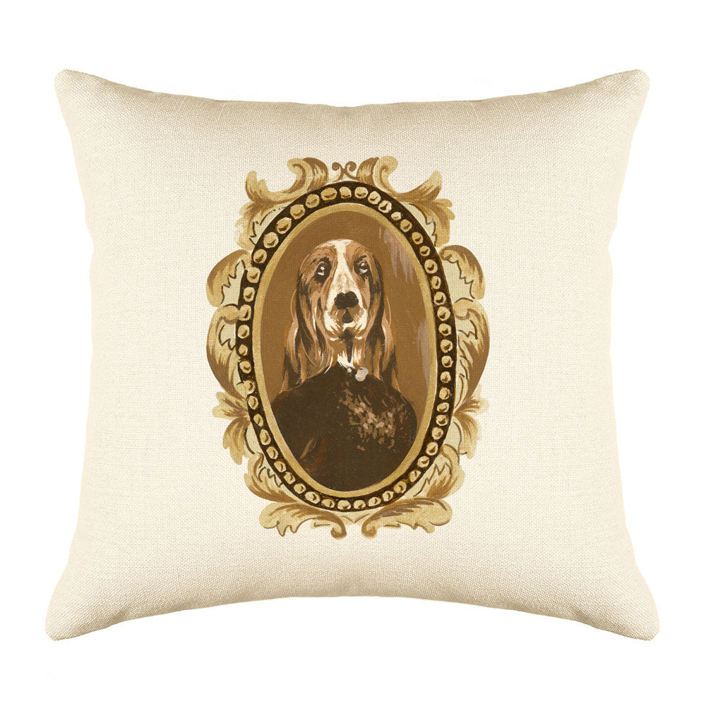 Doctor Basset Throw Pillow Cover - Dog Illustration Throw Pillow Cover Collection-Di Lewis