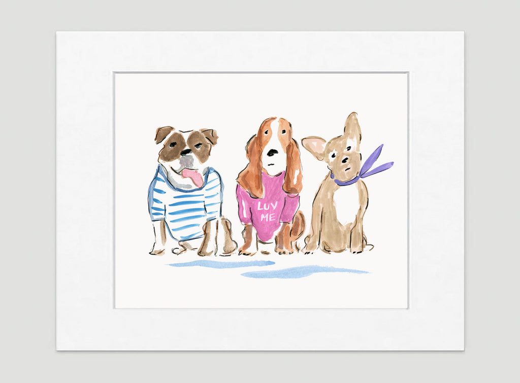 Larry, Moe & Curly Art Print - Dog Illustrations Wall Art Collection-Di Lewis