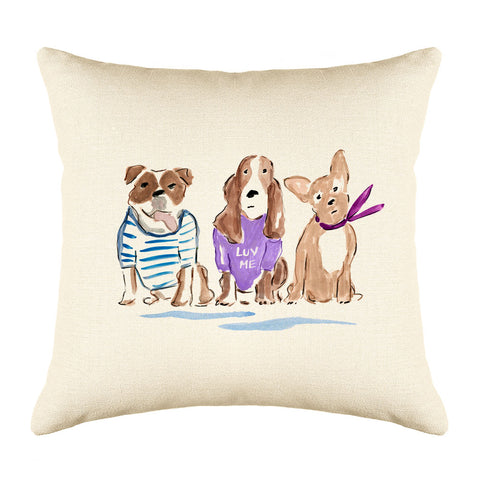 Larry, Moe & Curly Throw Pillow Cover - Dog Illustration Throw Pillow Cover Collection