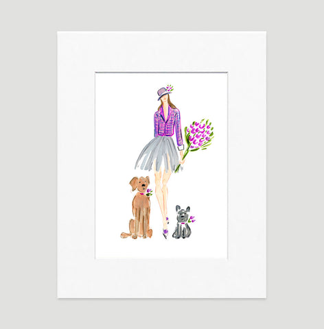 Doggie Date Art Print - Fashion Illustration Wall Art Collection-Matted-Di Lewis