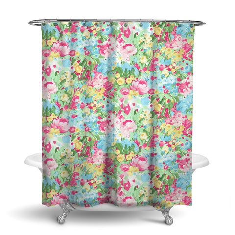 DOMINIQUE - FLORAL SHOWER CURTAIN - PINK GREEN YELLOW - FLOWER DESIGN