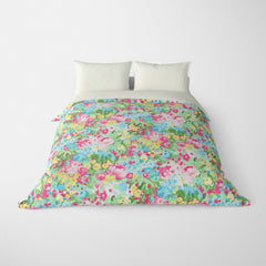 FLORAL DUVET COVERS & BEDDING SETS DOMINIQUE PINK GREEN YELLOW - FLOWER DESIGN - HYPOALLERGENIC