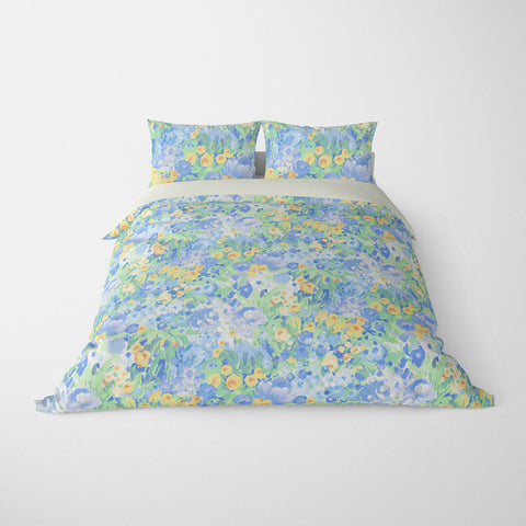 FLORAL DUVET COVERS & BEDDING SETS DOMINIQUE BLUE GREEN YELLOW - FLOWER DESIGN - HYPOALLERGENIC