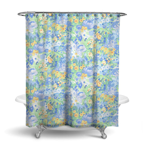 DOMINIQUE - FLORAL SHOWER CURTAIN - BLUE GREEN YELLOW - FLOWER DESIGN
