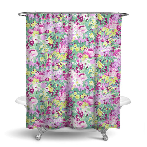 DOMINIQUE - FLORAL SHOWER CURTAIN - GREEN PURPLE GOLD - FLOWER DESIGN
