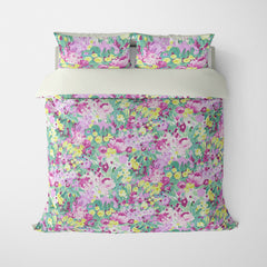 FLORAL DUVET COVERS & BEDDING SETS DOMINIQUE GREEN PURPLE GOLD - FLOWER DESIGN - HYPOALLERGENIC