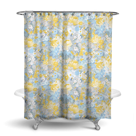 DOMINIQUE - FLORAL SHOWER CURTAIN - SKY GREY GOLD - FLOWER DESIGN