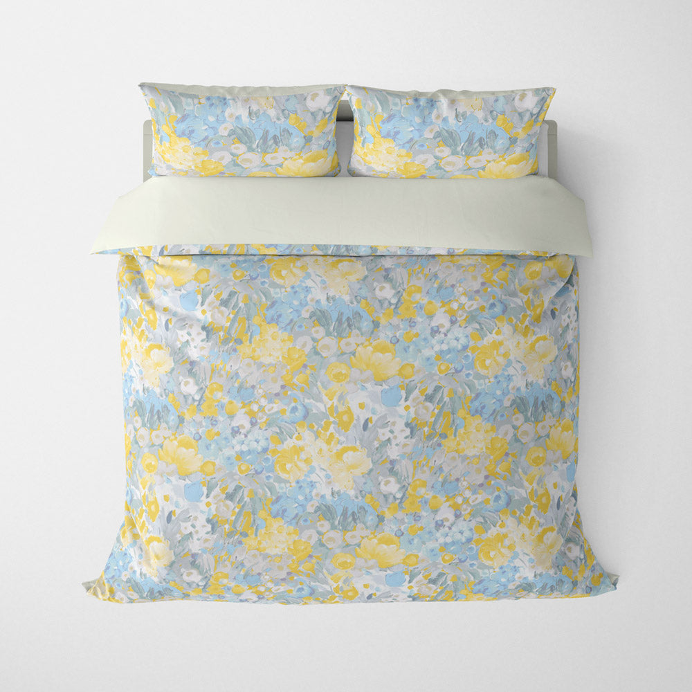 FLORAL DUVET COVERS & BEDDING SETS DOMINIQUE SKY GREY GOLD - FLOWER DESIGN - HYPOALLERGENIC