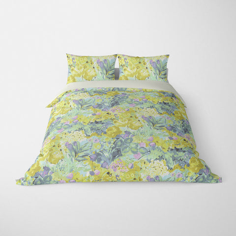 FLORAL DUVET COVERS & BEDDING SETS DUFY AQUA YELLOW PINK - FLOWER DESIGN - HYPOALLERGENIC