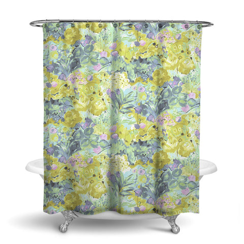 DUFY - FLORAL SHOWER CURTAIN - AQUA YELLOW PINK - FLOWER DESIGN