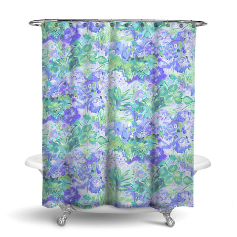 DUFY - FLORAL SHOWER CURTAIN - BLUE GREEN - FLOWER DESIGN