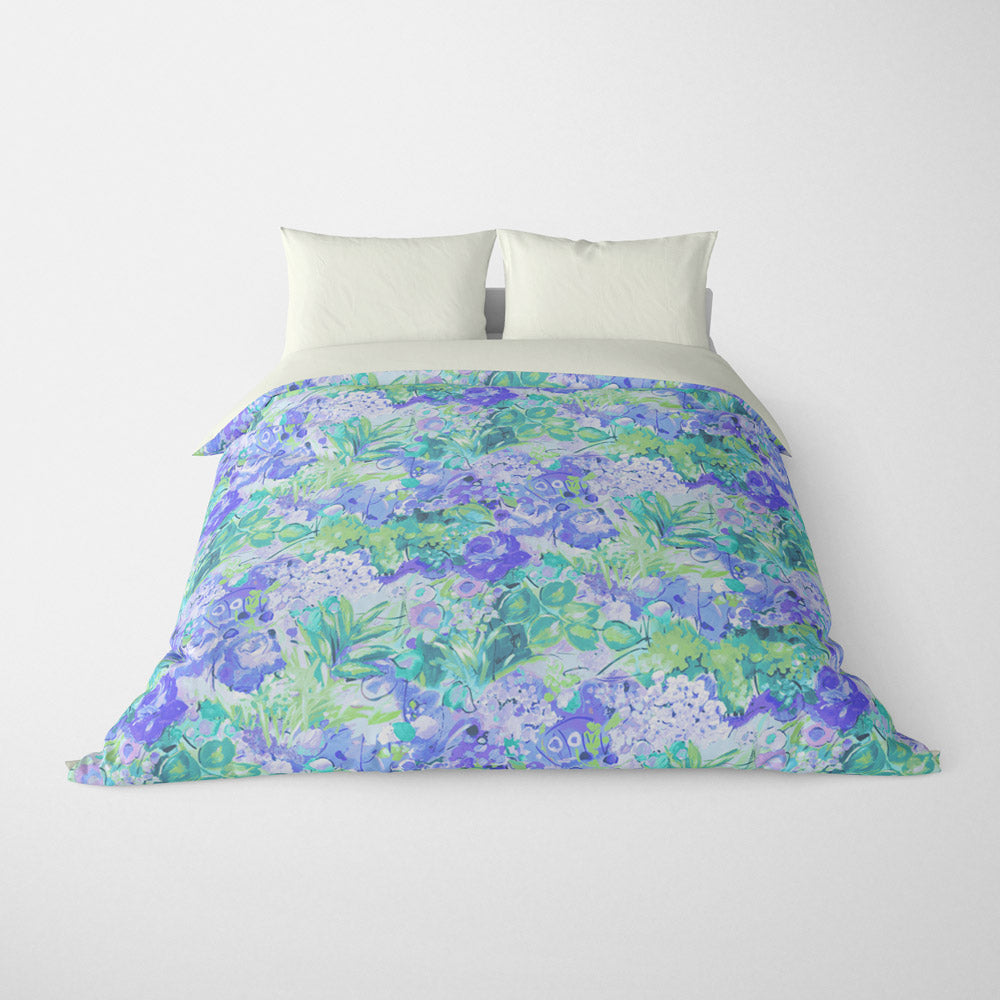 FLORAL DUVET COVERS & BEDDING SETS DUFY BLUE GREEN - FLOWER DESIGN - HYPOALLERGENIC