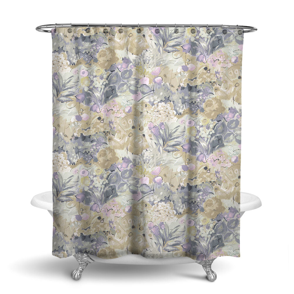 DUFY - FLORAL SHOWER CURTAIN - NATURAL - FLOWER DESIGN