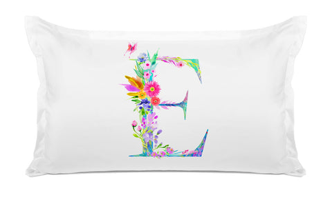 Floral Watercolor Monogram Letter E Pillowcase