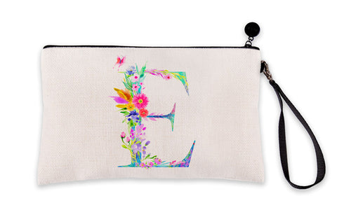 Floral Watercolor Monogram Letter E Makeup Bag