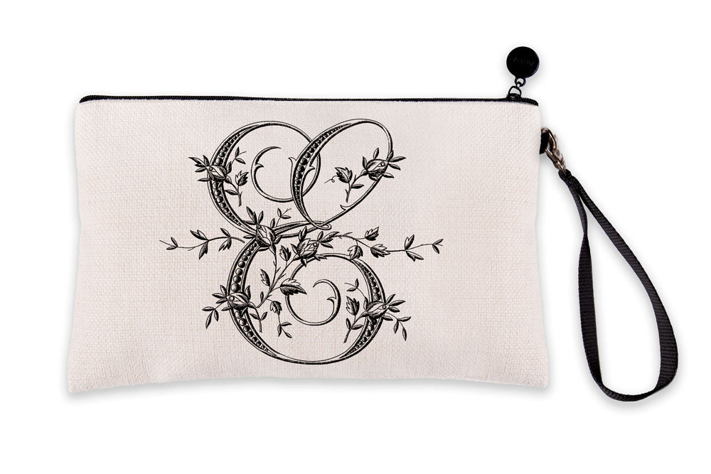 Vintage French Monogram Letter E Makeup Bag