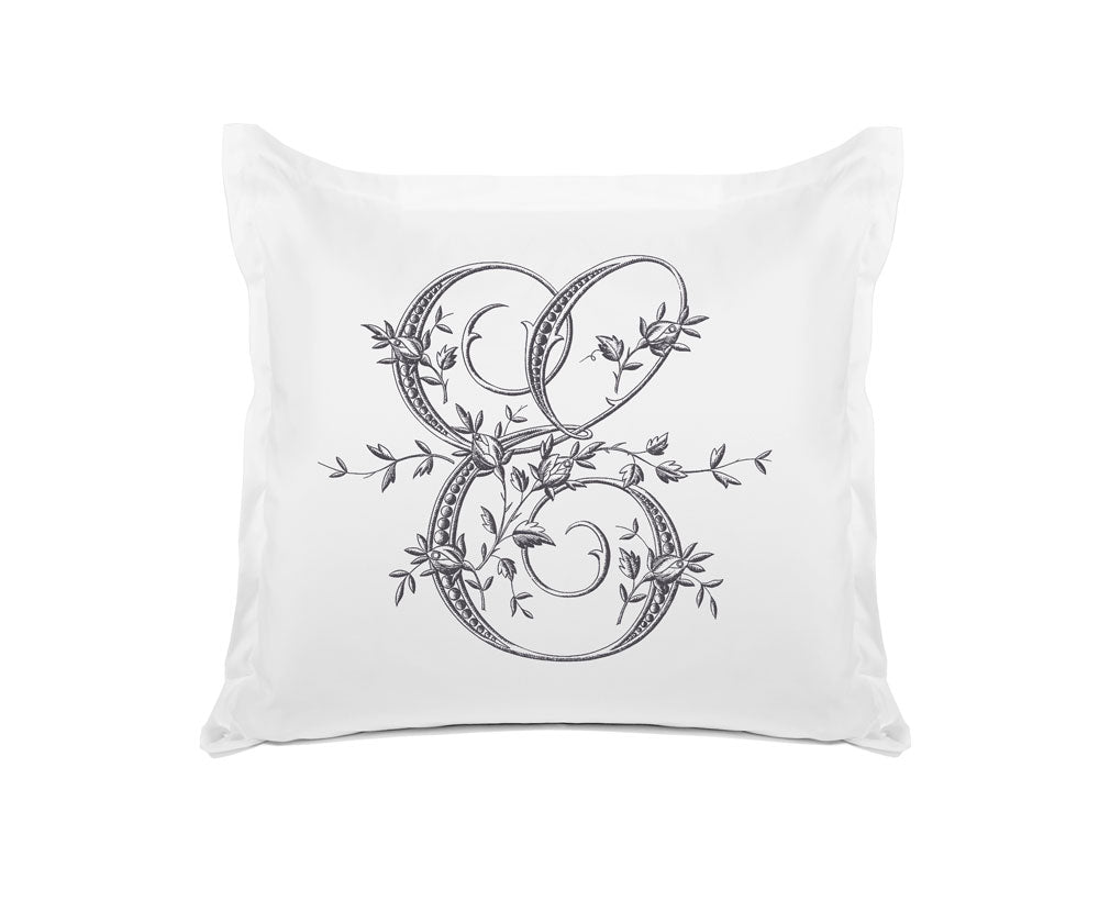 Vintage French Monogram Letter E Pillowcase